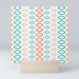 Mid Century Modern Geometric Shapes in Muted Colors Orange Coral, Pink, Blue, Teal, and Gold Mini Art Print