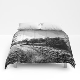 yorkshire river autumn digital oil painting black white Comforters