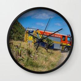 Fire Engine On The Coast Wall Clock