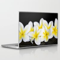 singapore Laptop & iPad Skins featuring Plumeria obtusa Singapore White by Sharon Mau