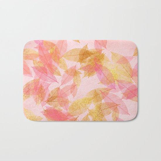 Autumn-world- gold leaves on pink Bath Mat