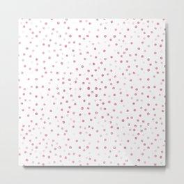 Girly Rose Gold Dots Confetti White Design Metal Print
