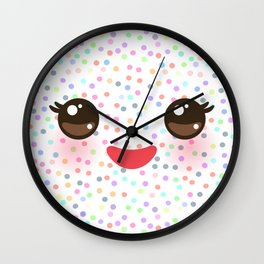 Kawaii funny muzzle with pink cheeks and eyes on white polka dot background Wall Clock