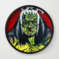 medicine Wall Clocks featuring Medicine Man by Hugo Maldonado