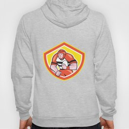 Rugby Player Holding Ball Shield Cartoon Hoody