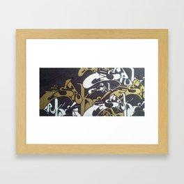 White and Gold graffiti design Framed Art Print