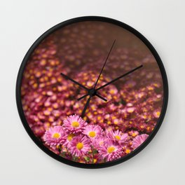 Colorful Pink Flowers Wall Clock