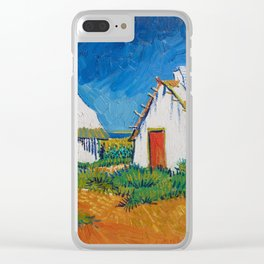 Three white cottages in Saintes-Maries by Vincent van Gogh Clear iPhone Case
