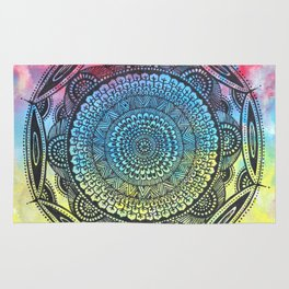 Mandala in three colours, bright and colourful Rug