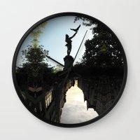 birdman Wall Clocks featuring Bavarian Birdman - Upside Up III by Mandy Becker