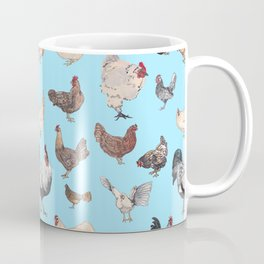 Chicken Happy (blue) Coffee Mug