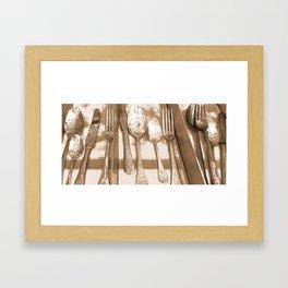 Sepia Ornate Cutlery. Framed Art Print