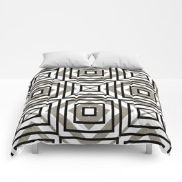 Gray, Gold, and White Geometric Abstract Comforters