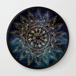 Elegant Gold Mandala Blue Galaxy Design Wall Clock