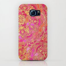 Hot Pink and Gold Baroque Floral Pattern Galaxy S7 Slim Case