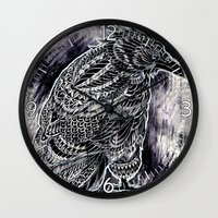 raven Wall Clocks featuring Raven by BIOWORKZ