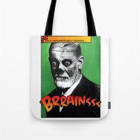 freud Tote Bags featuring Zombie Freud by Ms Moirai