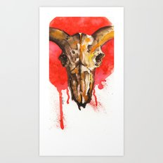 red moon skull Art Print