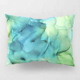 Blue Green Spring Marble Abstract Ink Painting Pillow Sham