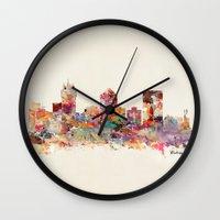 kansas Wall Clocks featuring wichita kansas by bri.buckley