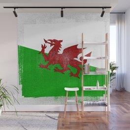 Welsh Distressed Halftone Denim Flag Wall Mural