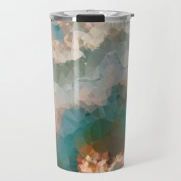 Turquoise Copper Agate Low Poly Geometric Triangles Travel Mug