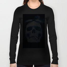 Skull Smoking Cigarette Blue Long Sleeve T-shirt