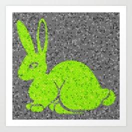 Quirky Original Art Green Bunny Rabbit Mosaic Art Print