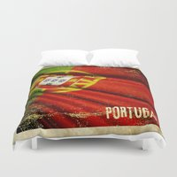 sticker Duvet Covers featuring Portugal grunge sticker flag by Lulla