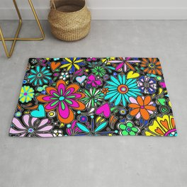 Abstract Floral Flower Pattern Multi Color Art by Megan Duncanson MADART Rug