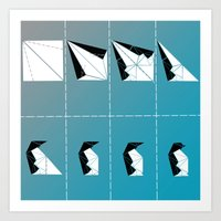 penguin Art Prints featuring PENGUIN by ARCHIGRAF