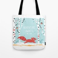 adventure Tote Bags featuring Adventure Awaits by Freeminds