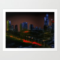 cityscape Art Prints featuring Cityscape by Jonas Ericson