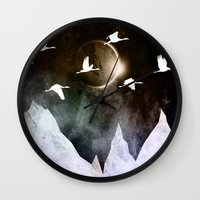 fly Wall Clocks featuring Fly High by Nireth