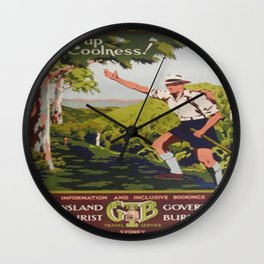 Vintage Art: Queensland Tourist Attraction Ad Wall Clock