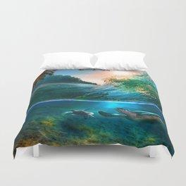 Palm Tree - Waves - Turtles - Beach - Ocean Duvet Cover