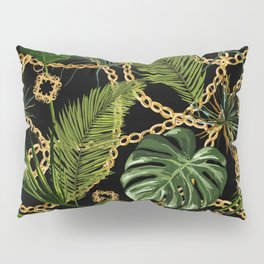 Tropical vintage Baroque pattern with golden chains, palm leaves, baroque elments on dark background. Classical luxury damask hand drawn illustration pattern. Pillow Sham