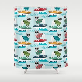 French Bulldog surfing pattern Shower Curtain