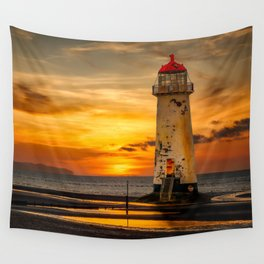 Sunset At The Lighthouse Wall Tapestry