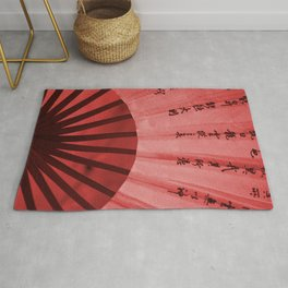 Chinese Umbrella in red Colors Rug