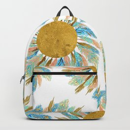 Golden Peacock Feather Pattern 21 Backpack