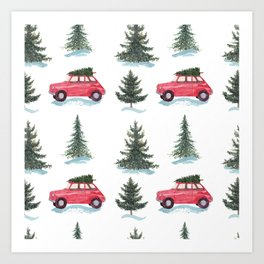 Red car and christmas tree in forest Art Print