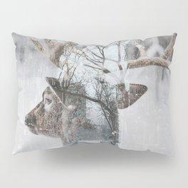 Reindeer and New York City Street Winter Pillow Sham
