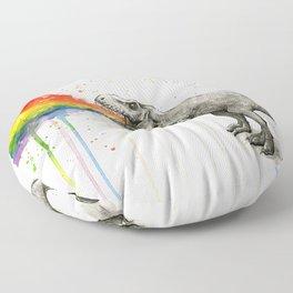 T-Rex Dinosaur Vomits Rainbow Floor Pillow