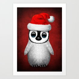 Baby Penguin Wearing a Santa Hat on Red Art Print