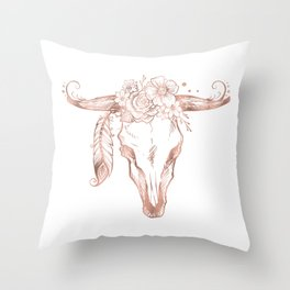 Rose Gold Bull Skull with Pink Feather Flowers Throw Pillow
