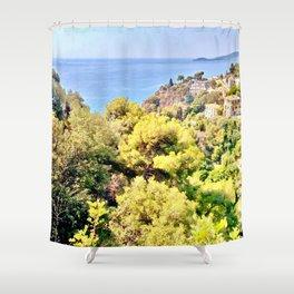 Golden Sea View Shower Curtain