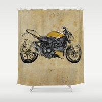 ducati Shower Curtains featuring Ducati Streetfighter 848, 2012 by Larsson Stevensem