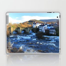 Bridge over  River Dee in spate at Llangollen, Wales Laptop & iPad Skin