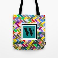 monogram Tote Bags featuring W Monogram by mailboxdisco